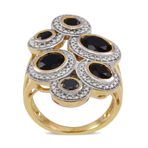 Boi Ploi Black Spinel (Rnd 1.71 Ct) Ring in 14K Gold Overlay Sterling Silver 4.470 Ct.