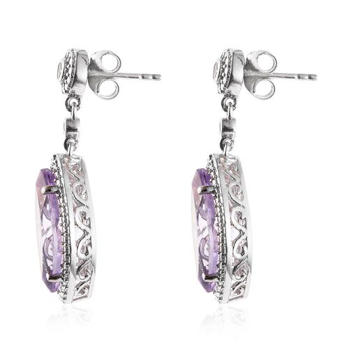 Rose De France Amethyst (Mrq), Natural Cambodian Zircon Earrings (with Push Back) in Platinum Overlay Sterling Silver 7.750 Ct.