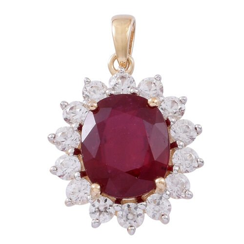 9K Y Gold AAA Rare Size African Ruby (Ovl 12x10mm), Natural White Cambodian Zircon Pendant 8.000 Ct.