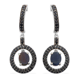 Natural Spectrolite (Ovl), Boi Ploi Black Spinel Earrings (with Push Back) in Platinum and Black Rhodium Overlay Sterling Silver 5.750 Ct. Silver wt 6.80 Gms. Number of Gemstones 138.