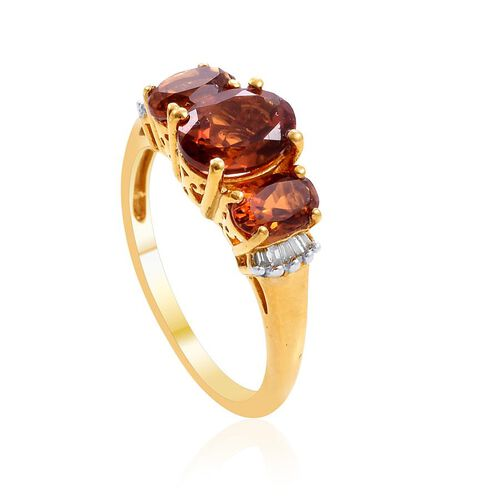 Madeira Citrine (Ovl 1.00 Ct), Diamond Ring in 14K Gold Overlay Sterling Silver 1.900 Ct.