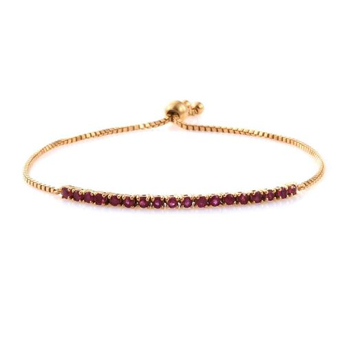 African Ruby (Rnd) Adjustable Bracelet (Size 6.5 to 8) in 14K Gold Overlay Sterling Silver 2.000 Ct.