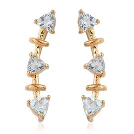Espirito Santo Aquamarine 1 Carat Silver Climber Earrings in Gold Overlay