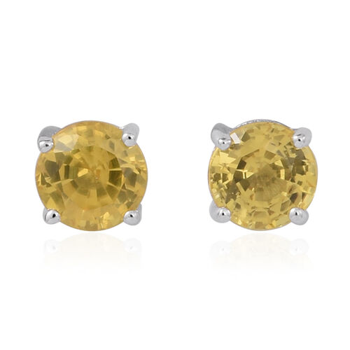 9K White Gold AA Yellow Sapphire Stud Earrings (with Push Back) 1.000 Ct.