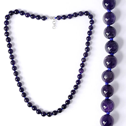 Amethyst (Rnd) Beads Necklace (Size 24) in Sterling Silver 253.900 Ct.
