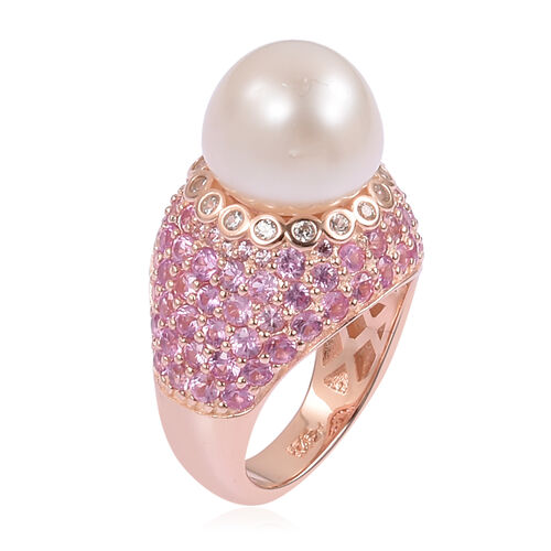 Designer Inspired- South Sea White Pearl (11mm- 12mm), Natural White Cambodian Zircon and Pink Sapphire (4.00 Cts ) Ring in 14K Rose Gold Overlay Sterling Silver, Silver wt 7.11 Gms.