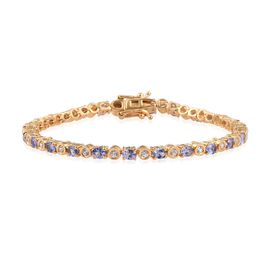 Tanzanite (Ovl), Natural Cambodian Zircon Bracelet (Size 7.5) in 14K Gold Overlay Sterling Silver 5.500 Ct.