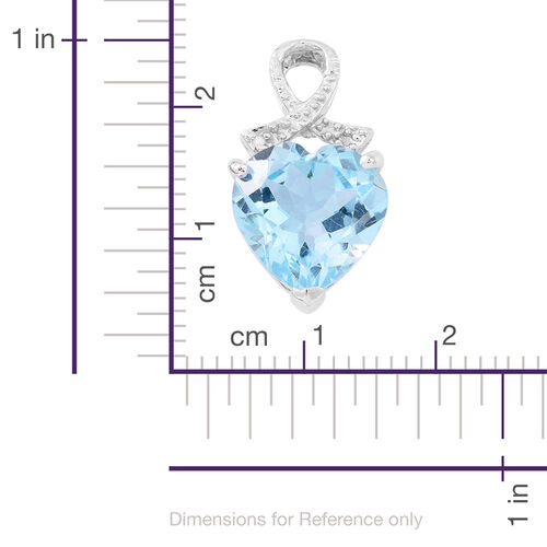 Sky Blue Topaz (Hrt) Solitaire Heart Pendant in Rhodium Plated Sterling Silver 5.500 Ct.