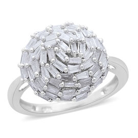 Diamond (Bgt) Cluster Ring in Platinum Overlay Sterling Silver 1.000 Ct.