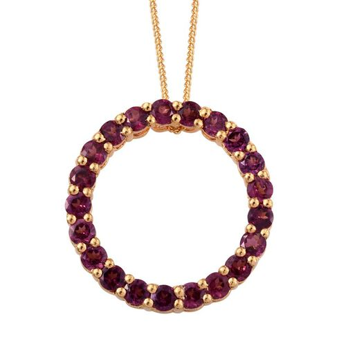 Rare Mozambique Grape Colour Garnet (Rnd) Circle of Life Pendant With Chain in 14K Gold Overlay Sterling Silver 2.250 Ct.