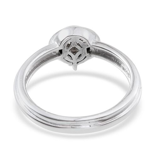 J Francis - Platinum Overlay Sterling Silver (Rnd) Ring Made with SWAROVSKI ZIRCONIA 1.090 Ct.
