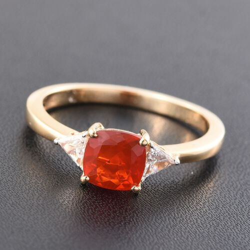 ILIANA 18K Y Gold AAA Jalisco Fire Opal (Cush 1.10 Ct), Diamond (SI/G-H) Ring 1.300 Ct.