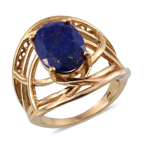 Lapis Lazuli (Ovl) Solitaire Ring in 14K Gold Overlay Sterling Silver 6.000 Ct.