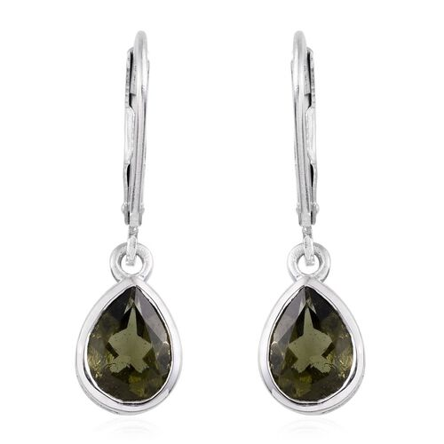 Bohemian Moldavite (Pear) Lever Back Earrings in Platinum Overlay Sterling Silver 1.750 Ct.