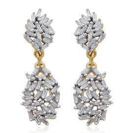 Designer Inspired- Fire Cracker Diamond (Bgt) Earrings (with Push Back) in Gold Overlay Sterling Silver 0.500 Ct.