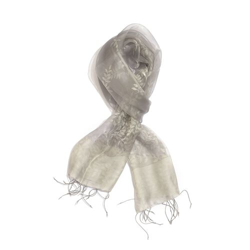 100% Silk Grey and Silver Colour Self Printed Scarf (Size 180x50 Cm)