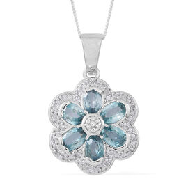 Collectors Edition- Ratanakiri Blue Zircon (Ovl), Natural Cambodian White Zircon Floral Pendant with Chain (Size 18) in Rhodium Plated Sterling Silver 4.750 Ct.