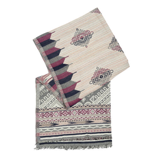 NewYork Designer Collection - Aztec Zigzag Pattern Shawl in Red, Black and Multi Colour with Fringes (Size 190X70 Cm)