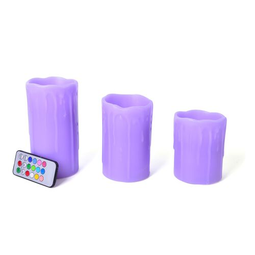 Set of 3 - 12 Colour Changing LED Flameless Drip Pilla Wax Blowing Lavender Colour Candless with a Remote Controll (Size 15x7.5 Cm/ 12.5x7.5 Cm/ 10x7.5 Cm)