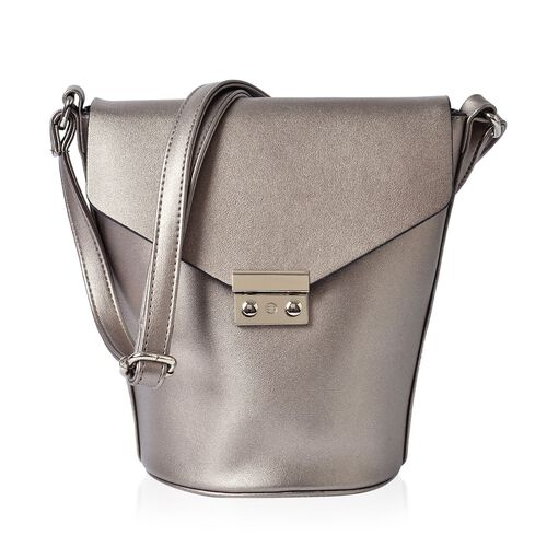 Greenwich Classic Structured Silver Grey and Colour Messenger Bag with Adjustable Shoulder Strap ( Size 24.5x24x16x16 Cm)