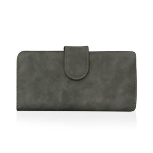 One Time Deal - Grey Colour Multi Compartment Ladies Wallet (Size 18.5x9.5x3.5cm)