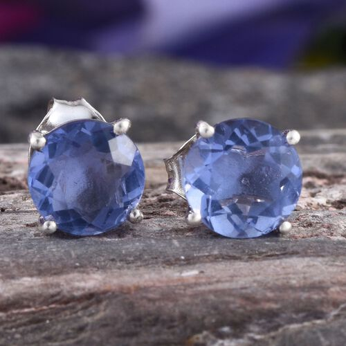 Colour Change Fluorite (Rnd) Stud Earrings in Platinum Overlay Sterling Silver 3.000 Ct.
