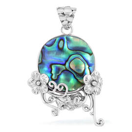 Royal Bali Collection Abalone Shell (Ovl) Flower Pendant in Sterling Silver