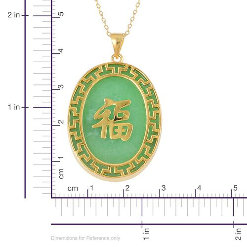 Green Jade Chinese Character FU (Goodluck) Pendant With Chain in Yellow Gold Overlay Sterling Silver 20.000 Ct.