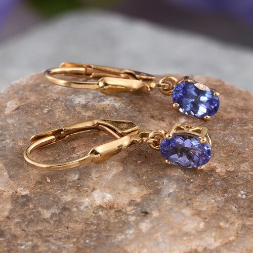 Tanzanite (Ovl) Earrings in 14K Gold Overlay Sterling Silver 1.000 Ct.
