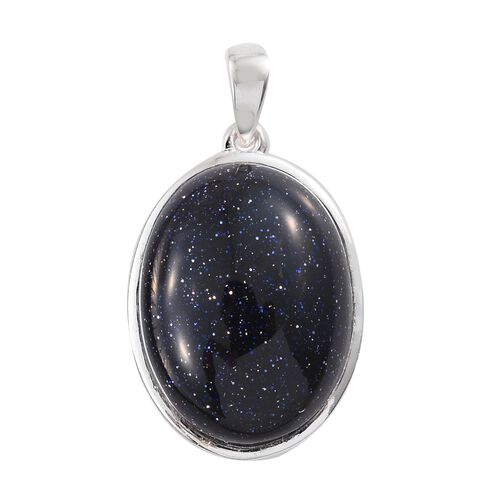 One Time Deal - Blue Sandstone (Ovl 20x15) Pendant in Sterling Silver.