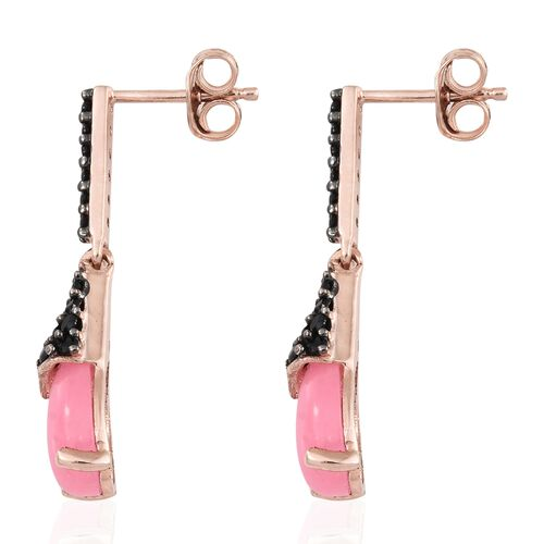 Pink Jade (Pear), Boi Ploi Black Spinel Earrings (with Push Back) in Black Rhodium and Rose Gold Overlay Sterling Silver 5.000 Ct.