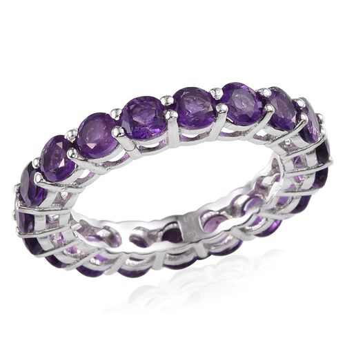 Amethyst (Rnd) Full Eternity Ring in Platinum Overlay Sterling Silver 4.000 Ct.