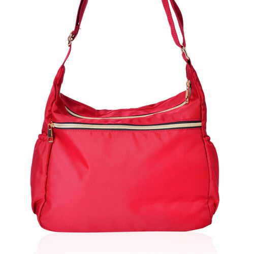 Designer Inspired- Red Colour Multi Pocket Waterproof Crossbody Bag with Adjustable Shoulder Strap (Size 31X22X11 Cm)