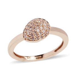 9K Rose Gold 0.20 Ct Natural Pink Diamond (Rnd) Cluster Ring