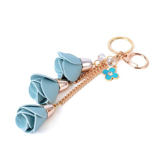 Set of 2 - White Austrian Crystal Pastel Blue Colour 3D Floral Bag Charm or Key Chain in Yellow Gold Tone