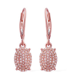 9K Rose Gold Natural Pink Diamond (Rnd) Lever Back Earrings 0.500 Ct