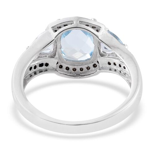 Designer Inspired- AAA Sky Blue Topaz (Cush 3.35 Ct), Swarovski Sapphire Colour Crystal Ring in Platinum Overlay Sterling Silver 4.500 Ct.