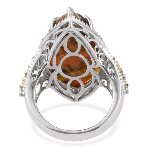 Bumble Bee Jasper (Mrq 18.00 Ct), Yellow Sapphire and White Diamond Ring in Platinum Overlay Sterling Silver 18.280 Ct.