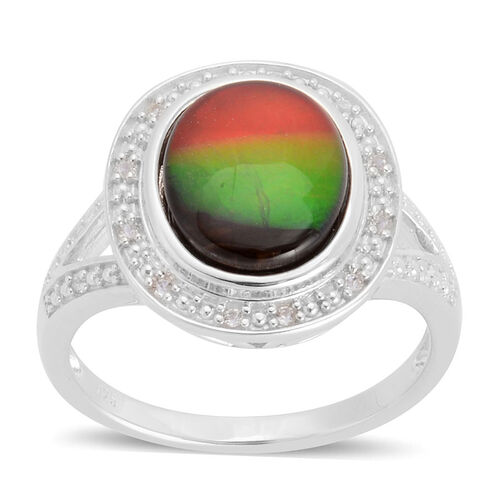 Canadian Ammolite (Ovl 2.50 Ct), White Topaz Ring in Platinum Overlay Sterling Silver 2.568 Ct.