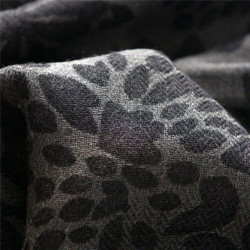 100% Merino Wool Woven Grey Colour Floral Pattern Black Colour Scarf (Size 175x70 Cm)