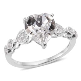 J Francis Crystal from Swarovski - White Colour Crystal (Hrt), Simulated Diamond Ring in Sterling Silver