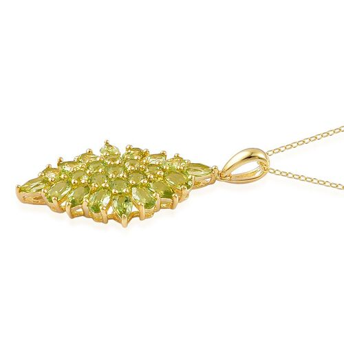 AA Hebei Peridot (Pear) Pendant With Chain in Yellow Gold Overlay Sterling Silver 4.500 Ct.
