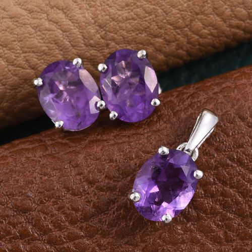African Amethyst (Ovl) Solitaire Pendant and Stud Earrings (with Push Back) in Platinum Overlay Sterling Silver 4.750 Ct.