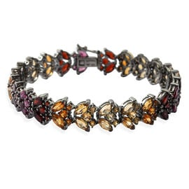 Citrine (Rnd and Mrq), Rhodolite Garnet and Multi Gemstone Bracelet (Size 6.75) in Black Rhodium Plated Sterling Silver 13.550 Ct. Silver wt 13.96 Gms. Number of Gemstone 114