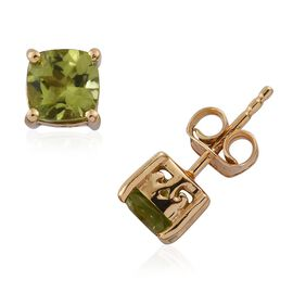 Hebei Peridot 2 Carat Silver Stud Earrings  in Gold Overlay (with Push Back)