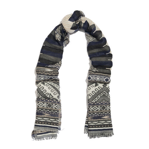 NewYork Designer Collection - Aztec Zigzag Pattern Shawl in Black, Grey and Multi Colour with Fringes (Size 190X70 Cm)