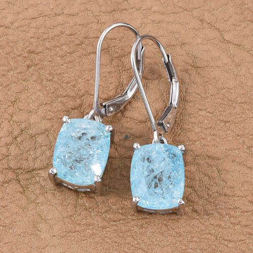Paraiba Blue Crackled Quartz (Cush) Lever Back Earrings in Platinum Overlay Sterling Silver 6.000 Ct.