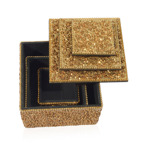 Set of 3 - Beads Embellished Golden Colour Square Shape Jewellery Box (Size 10X7, 8X5 and 5.5X3 Cm)