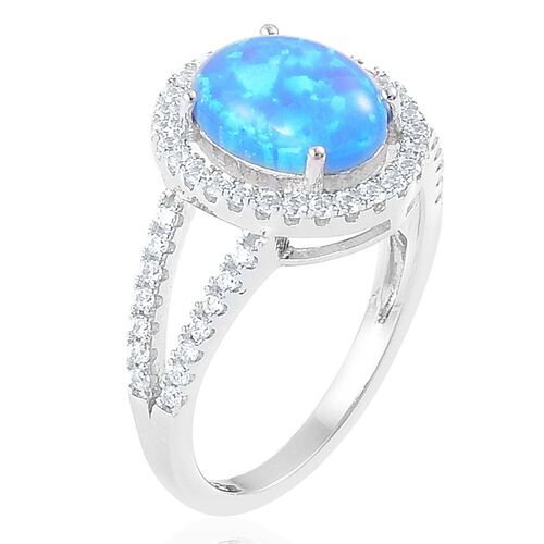 New Concept- Simulated Ocean Blue Opal and Simulated White Diamond Ring in Rhodium Plated Sterling Silver