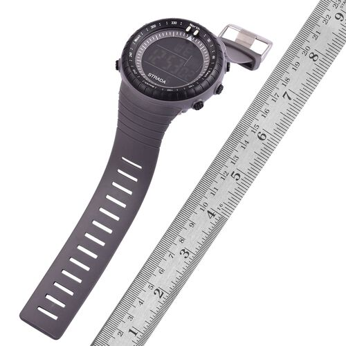 STRADA Electronic Movement LED Display Watch with Stainless Steel Back and Grey Silicone Strap